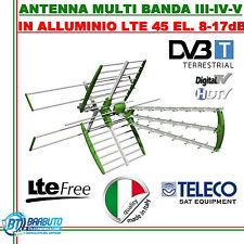 KIT ANTENNA COMBO DIGITALE TERRESTRE LTE UHF+VHF 1 OUT 45 ELEMENTI GUADAGNO 17dB