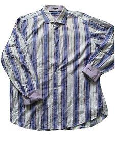 Bugatchi-Uomo-Mens-Size-XL-Purple-Striped-Long-Sleeve-Button-Down-Shirt