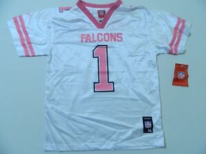newest e0abf 6581a Details about M61 New NWT REEBOK Atlanta Falcons Youth Pink #1 Girls Jersey  S,M,L,XL