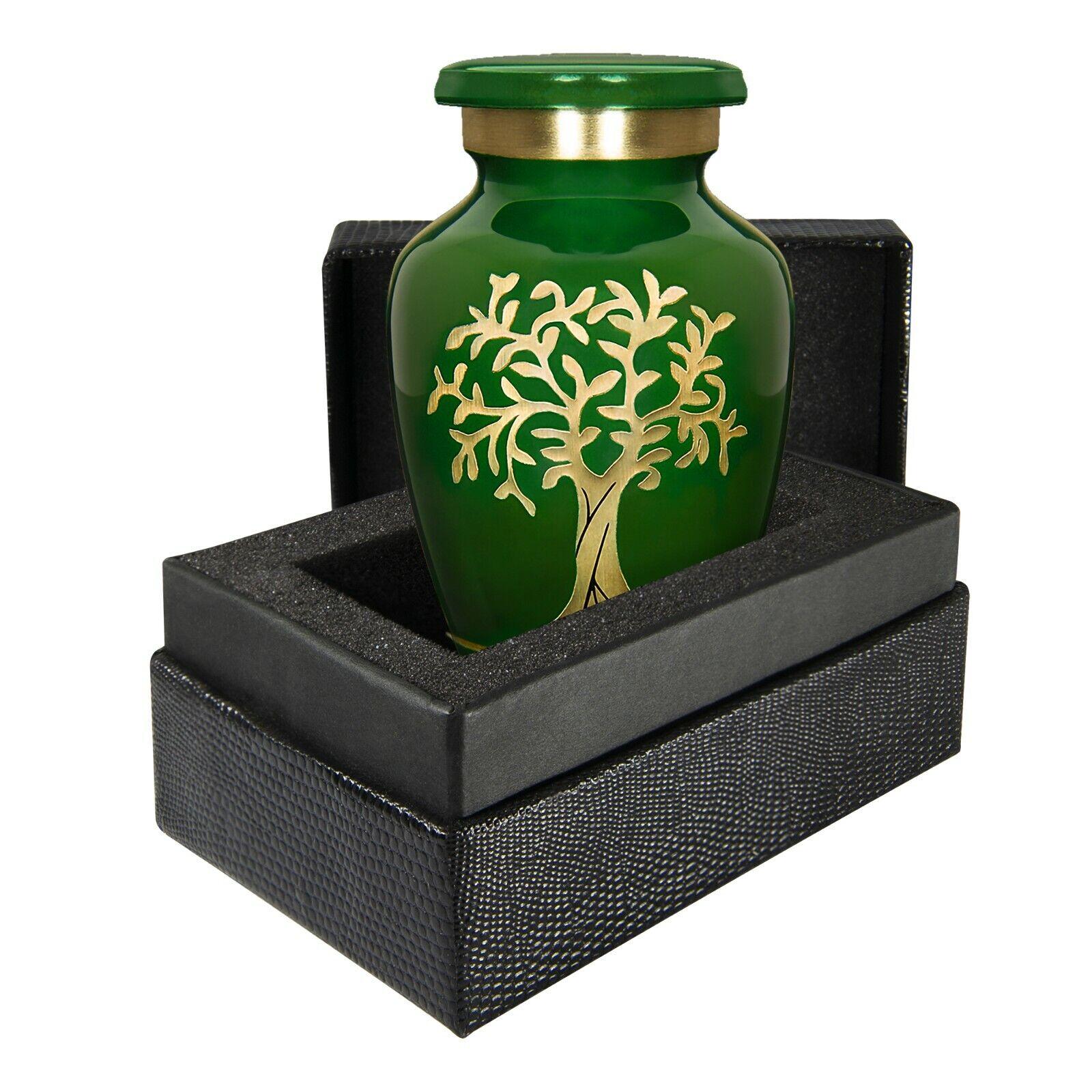Árbol de la vida verde pequeño recuerdo urna para cenizas humanas Estilo Moderno-con Estuche