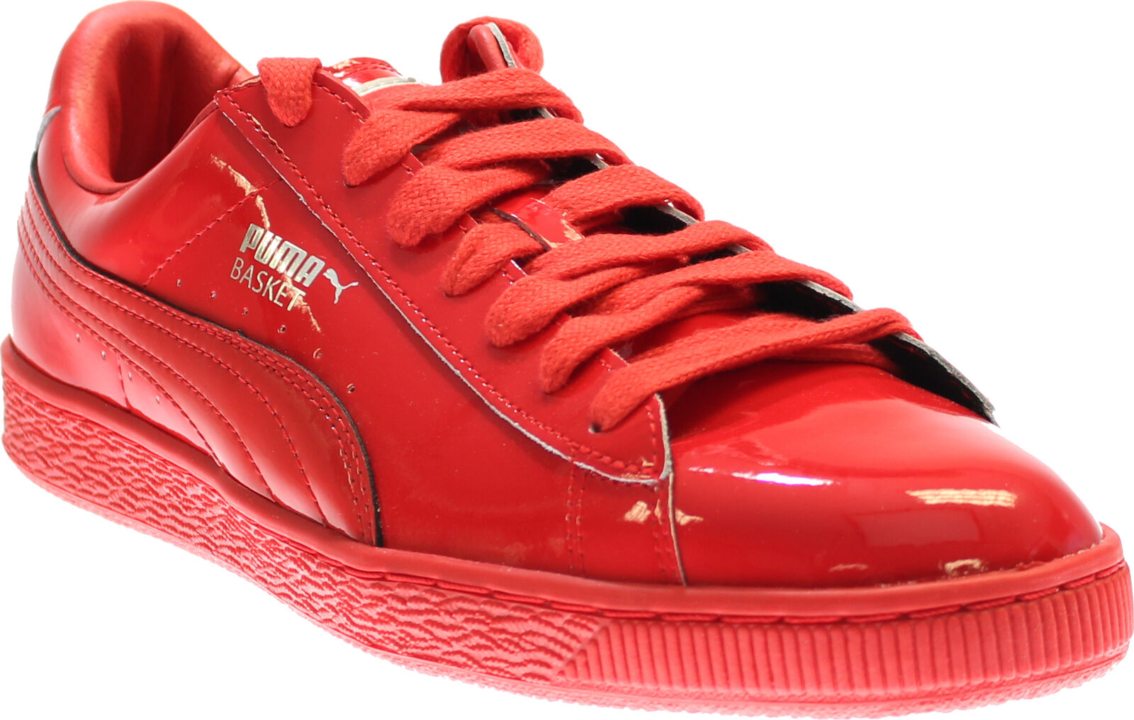 9f7fa769dc2b PUMA Basket Matte   Shine Mens Red Patent Leather Lace up SNEAKERS ...