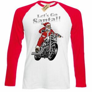 Lets-Go-Santa-christmas-biker-motorbike-xmas-mens-Baseball-T-Shirt