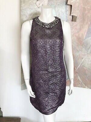Maggy London Black  Dress with Silver-toned Detail size 6