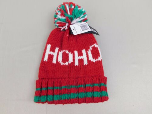 Steve Madden Red Knit Christmas Santa HO HO HO Winter Pom Pom Beanie Hat #6103