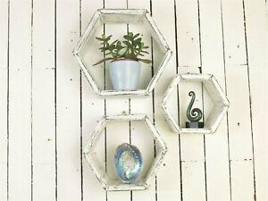 Wooden-Hexagon-Shelves-Wall-Shelves-Shabby-Chic-Decor-Black-And-White-Set-Of-3