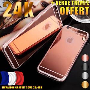 Coque-Housse-Arriere-Miroir-en-Gel-TPU-Silicone-pour-iPhone-Film-verre-trempe