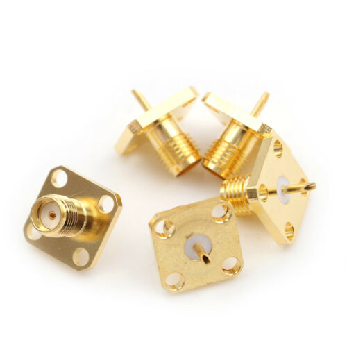 5x SMA Female Jack Chassis Flange Panel Mount 4Hole RF Solder Connector Adapter^