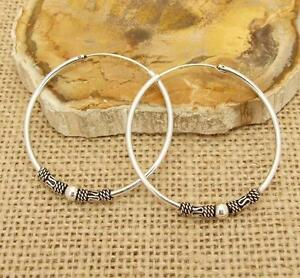 Bali-Style-Sterling-925-Silver-4cm-40mm-Hoop-Sleeper-Earrings