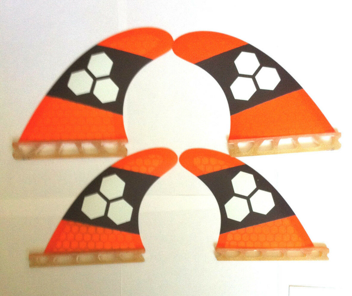 Futures Quad set of 4 Surfboard surf fins orange Honeycomb surfing fin Quads
