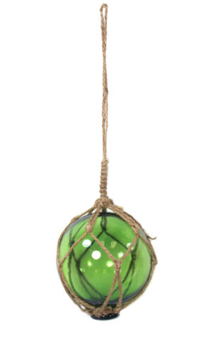 Green Japanese Glass Fishing Fish Net Float Buoy Tied with Jute 4 Inch