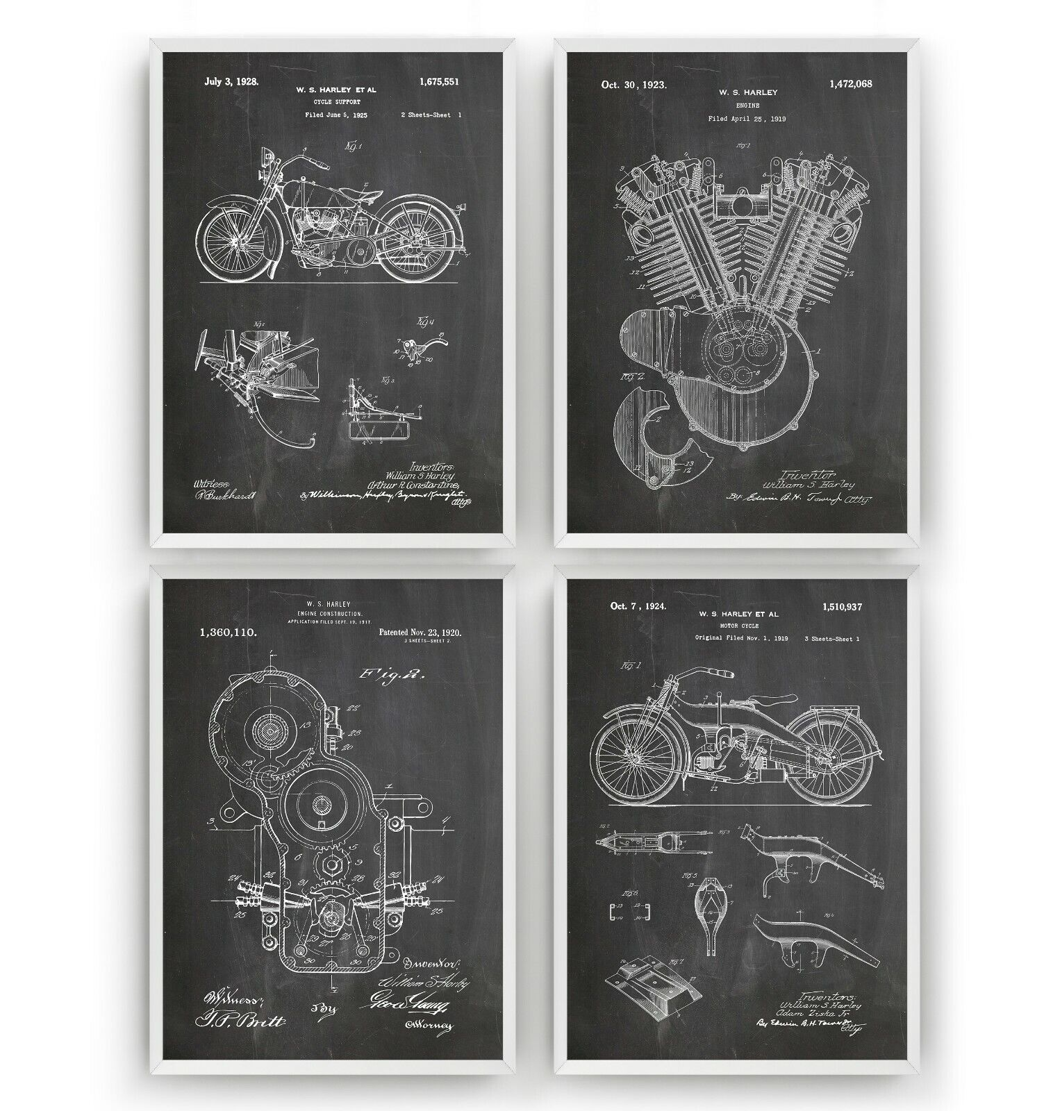 Harley Davidson Patent Art Prints - Set Of 4 - Poster Wall Decor Gift - Unframed