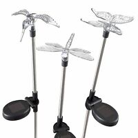 3 Solar Lights Butterfly Hummingbird Dragonfly 30 Inches High Garden Yard Decor