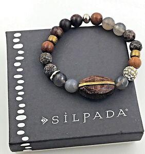Silpada-925-Sterling-Silver-amp-Brass-039-Wildwood-039-Agate-amp-Wood-Stretch-Bracelet