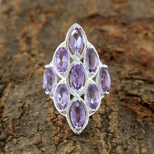 Natural-Amethyst-Ring-925-Sterling-Silver-Handmade-Ring-Size-8