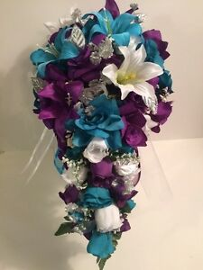 Purple MalibuTurquoise White Tiger Lily Bridal Bouquet Cascade Groom ...