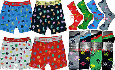 Offizielle Website Men's Boxer Short Trunk Brief Pairs Of Socks Ganja Marijuana Weed Leaf Gift Pack