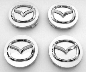 4x-56mm-Mazda-Nabendeckel-Felgendeckel-Nabenkappen-Grau