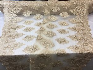 Lace-Fabric-Sequins-Mesh-For-Dress-Decoration-amp-Bridal-Veil-Champagne-By-1-Yard