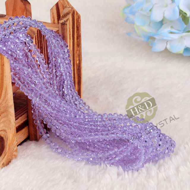 Lot 1500 PCS Lilac Crystal Faceted Loose Beads Rondelle Jewelry Making DIY 4mm