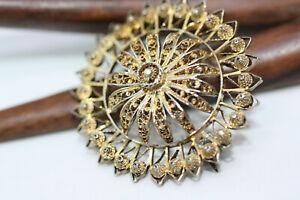 Antique-Victorian-1900-039-s-Sterling-Silver-Filigree-Round-Women-039-s-Ladies-Brooch-1-034