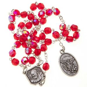 Ruby-Red-St-Saint-Michael-Padre-Pio-Guardian-Angel-Rosary-Beads-Chaplet-6MM