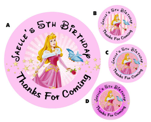 SLEEPING BEAUTY AURORA ROUND LABELS BIRTHDAY PARTY STICKERS FAVORS VARIOUS SIZES