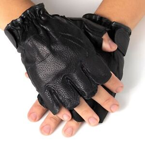Alpine-Swiss-Mens-Fingerless-Gloves-Genuine-Leather-for-Workout-Training-Riding