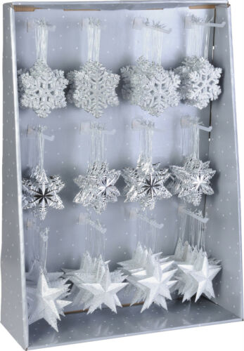 12 Hanging Christmas Tree Decorations  Star Snowflakes Trees Reindeer Feathers
