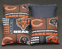 4 Cornhole Beanbags Made W Chicago Bears Fabric Top Quality, Handmade