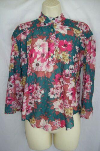 Vtg 80s Sheer Teal Pink Floral Secretary Boho Blou