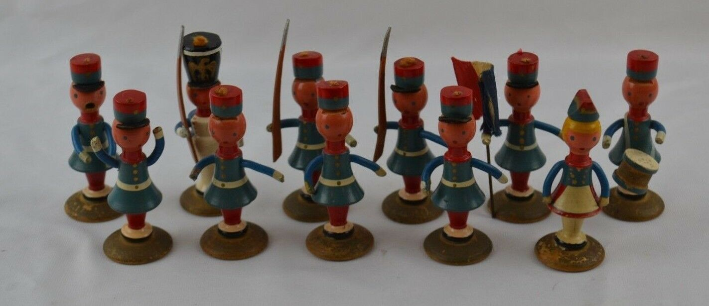 Made In France Antqiue Wood Toy Soliders Set 12