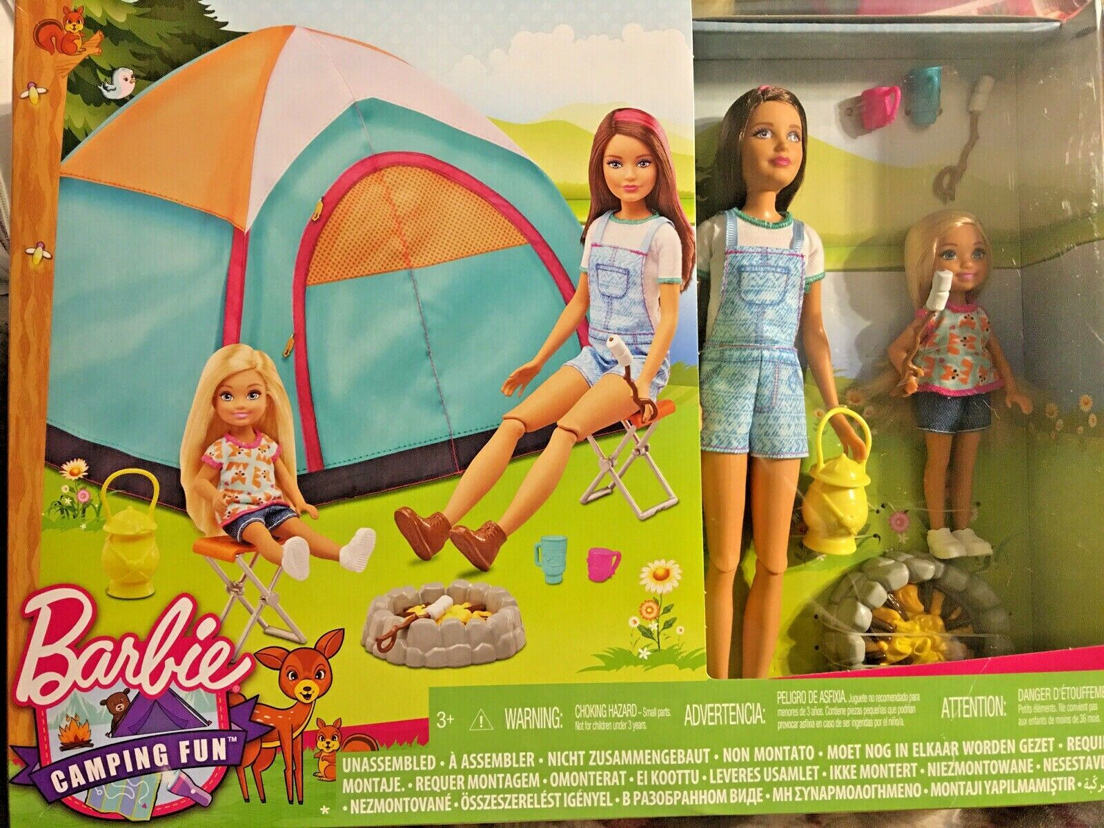 Barbie Camping Fun Tent with 2 dolls Skipper and Chelsea plus accessories New