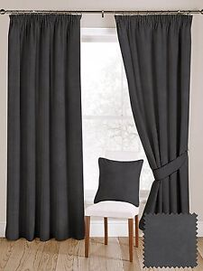 Image Is Loading McAlister Textiles Matt Plain Charcoal Grey Velvet Curtains