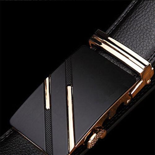 Men/'s Faux Leather Automatic Buckle Waist Strap Belt Businees Luxury Waistband