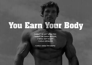 Image Is Loading Motivational Arnold Schwarzenegger 11 Earn Your Body Gym
