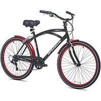 Mens Beach Cruiser Bike 26 Inch Steel Frame Shimano 7 Speed Black