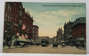 Lowell-Mass-Central-Street-from-Towers-Corner-Stores-Trolley-Horses-Postcard-G8
