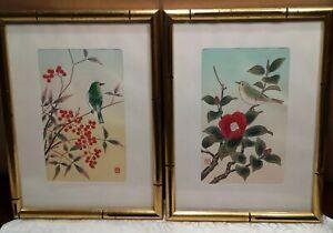 2-Framed-Signed-Wood-Block-Rice-Prints-Birds-Trees-Berries-Flowers-Nature-Japan