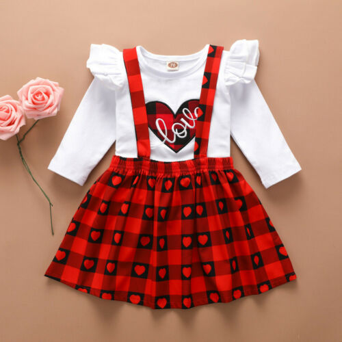Toddler Kids Baby Girls Valentine/'s Day Heart Tops Plaid Skirts Outfits Clothes