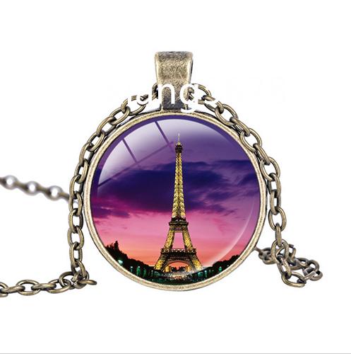 Vintage Eiffel Tower Cabochon Tibetan silver Glass Chain Pendant Necklace #4433