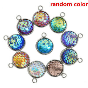 10PCS Resin Metal Charms Mermaid Fish Scale Pendant Jewelry Necklace DIY 12mm C