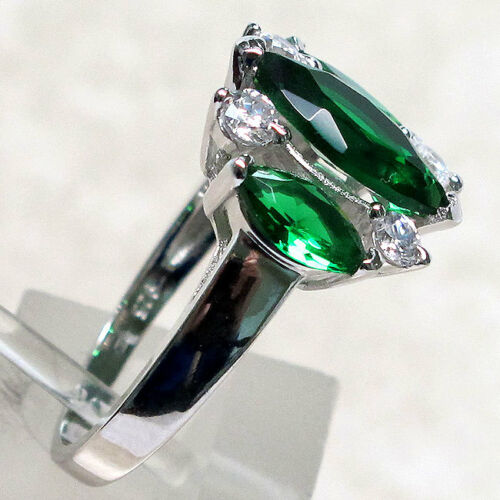 LUXURIOUS 3 CT THREE STONE EMERALD 925 STERLING SILVER RING SIZE 5-10