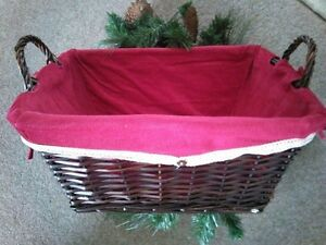 Wicker hamper basket christmas box red