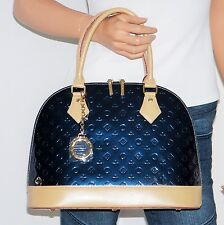 NWT Invece Oceano Blue Patent Leather Domed Satchel Shoulder Bag Crossbody Italy