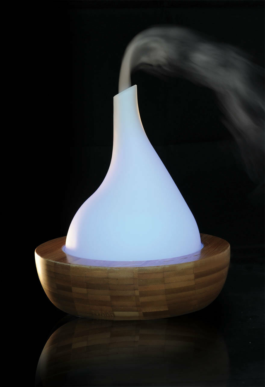 Bambus Glas Zimmerbrunnen 302 Ultraschall Nebler Verdampfer Diffuser Befeuchter