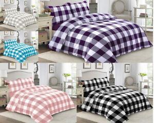 Gingham-Check-Print-Bedding-Duvet-Quilt-Cover-Set-Pillow-Case-Single-Double-King