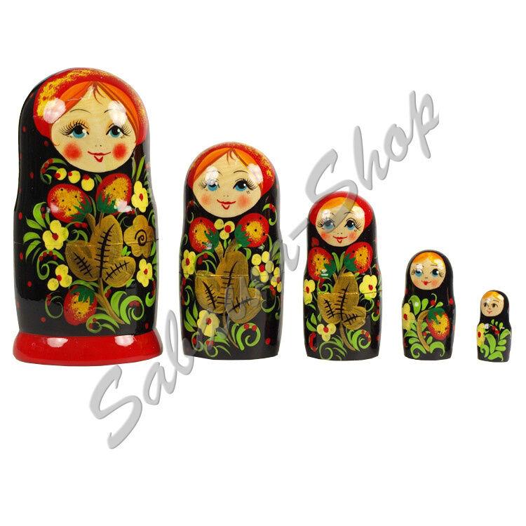 Matrjoschka 'Hohloma' Puppe Matröschka Matroschka Babuschka Russische Puppe 'Hohloma' Souvenir cad649