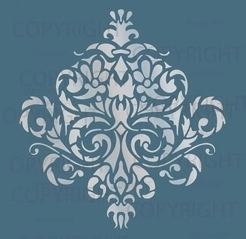 LARGE WALL DAMASK STENCIL PATTERN FAUX MURAL  #1010