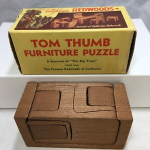 Details About Vintage 11 Piece Sawed Wood Tom Thumb Furniture Puzzle California Redwoods Box