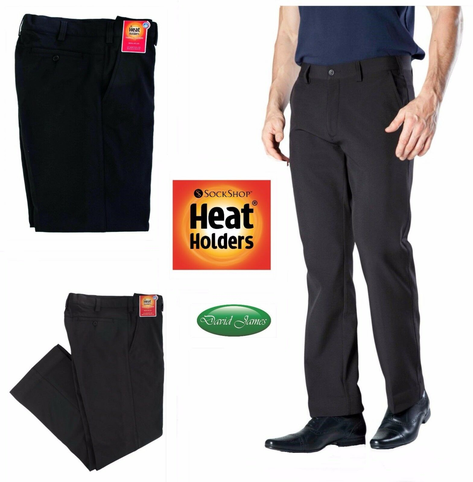 Mens Heat Holders Winter Warm Thermal Fleece Insulated Lined  Smart Trousers
